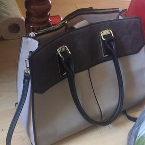 Grey and brown purse with shoulder strap